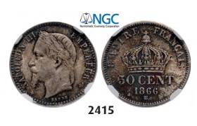 Lot: 2415. France, Napoleon III, 1852-­1870, 50 Centimes 1866­-BB, Strasbourg, Silver, NGC MS63