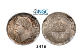 Lot: 2416. France, Napoleon III, 1852-­1870, 50 Centimes 1867­-BB, Strasbourg, Silver, NGC MS65