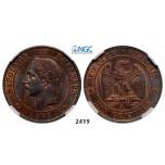 Lot: 2419. France, Napoleon III, 1852-1870, 10 Centimes 1863-A, Paris, Bronze, NGC MS65RB