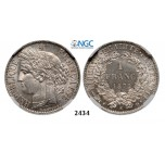 Lot: 2434. France, Third Republic, 1871-1940, Franc 1872-K (Small K) Bordeaux, Silver, NGC MS63