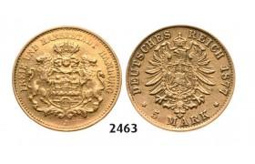 Lot: 2463. Germany, Empire, local coinage, Hamburg, 5 Mark 1877-J, Hamburg, GOLD