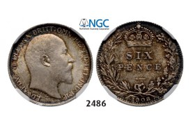 Lot: 2486. Great Britain, Edward VII, 1901-­1910, 6 Pence 1908, London, Silver, NGC MS64