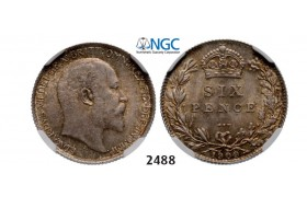 Lot: 2488. Great Britain, Edward VII, 1901-­1910, 6 Pence 1909, London, Silver, NGC MS64