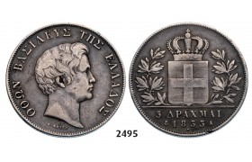 Lot: 2495. Greece, Othon, 1832­-1862, 5 Drachmai 1833­-A, Paris, Silver