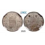 Lot: 2525. Hungary, War of Independence, 6 Kreuzer 1849-NB, Nagybanya, Silver, NGC MS63