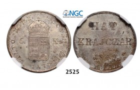 Lot: 2525. Hungary, War of Independence, 6 Kreuzer 1849-­NB, Nagybanya, Silver, NGC MS63