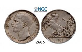 Lot: 2606. Italy, Kingdom, Vittorio Emanuele III, 1900-1946, 10 Lira 1927-R, Rome, Silver, NGC AU58