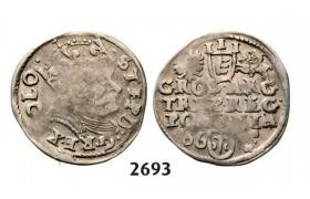 Lot: 2693. Poland, Stefan Bathory, 1575-1586, 3 Groschen (Trojak) 1586, Poznan (Posen) Silver