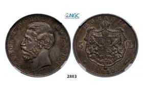 "Lot: 2803. Romania, Carol I, 1866-1914, 5 Lei 1880-B, Bucharest, Silver (25.00g) ""Name near bust""NGC AU58"
