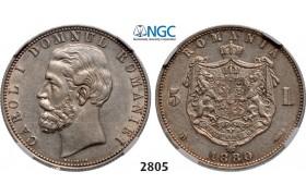 Lot: 2805. Romania, Carol I, 1866-1914, 5 Lei 1880-B, Bucharest, Silver, NGC AU55