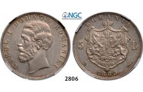 Lot: 2806. Romania, Carol I, 1866-1914, 5 Lei 1880-B, Bucharest, Silver , NGC AU53