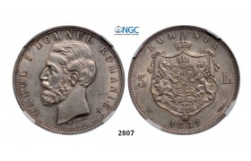 Lot: 2807. Romania, Carol I, 1866-1914, 5 Lei 1881-B, Bucharest, Silver , NGC AU58