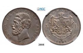 Lot: 2808. Romania, Carol I, 1866-1914, 5 Lei 1881-B, Bucharest, Silver, NGC AU53