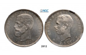 Lot: 2812. Romania, Carol I, 1866-1914, 5 Lei, No Date (1906) Brussels, Silver, NGC MS63