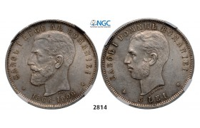 Lot: 2814. Romania, Carol I, 1866-1914, 5 Lei, No Date (1906) Brussels, Silver, NGC MS61