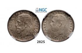 Lot: 2825. Romania, Carol I, 1866-1914, Leu No Date (1906) Brussels, Silver, NGC MS64