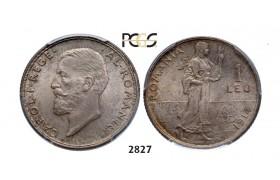 Lot: 2827. Romania, Carol I, 1866-1914, Leu 1914, Brussels, Silver, PCGS MS66