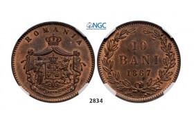 Lot: 2834. Romania, Carol I, 1866-1914, 10 Bani 1867 Heaton, Birmingham, Copper, NGC MS64RB