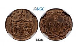 Lot: 2838. Romania, Carol I, 1866-1914, 2 Bani 1867 Watt&Co, Birmingham, Copper, NGC MS63RB