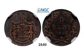 Lot: 2840. Romania, Carol I, 1866-1914, Banu 1867 Watt&Co, Birmingham, Copper,NGC MS63BN