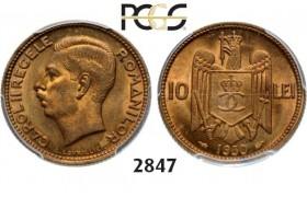 Lot: 2847. Romania, Carol II, 1930-1940, 10 Lei 1930, Paris, Nickel-Brass, PCGS MS64