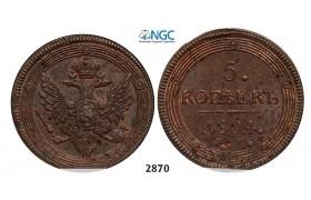Lot: 2870. Russia, Alexander I, 1801-1825, 5 Kopeks 1804-EM, Ekaterinburg, Copper, NGC MS61BN