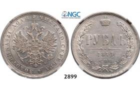 Lot: 2899. Russia, Alexander II, 1854-1881, Rouble (Rubel) 1877-СПБ/НФ,St. Petersburg, Silver, NGC AU58