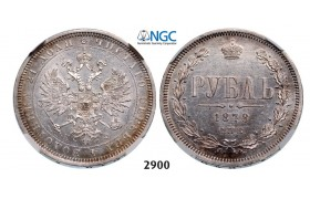 Lot: 2900. Russia, Alexander II, 1854-­1881, Rouble (Rubel) 1878-­СПБ/НФ, St. Petersburg, Silver, NGC MS61