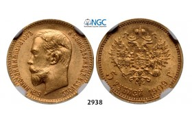 Lot: 2938. Russia, Nicholas II, 1894-1918, 5 Roubles (Rubel) 1909 (ЭБ) St. Petersburg, GOLD, NGC MS65