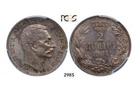 Lot: 2985. Serbia, Peter I, 1903-1918, 2 Dinara 1904, Vienna, Silver, PCGS MS64