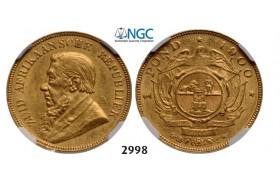 Lot: 2998. South Africa, Zuid-Afrikaansche Republiek (ZAR), Pond 1900, GOLD, NGC AU58