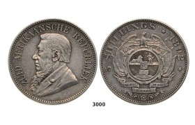 Lot: 3000. South Africa, Zuid­-Afrikaansche Republiek (ZAR), 5 Shillings 1892 (Double shaft on wagon tongue) Silver