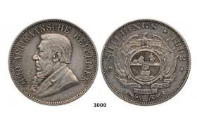 Lot: 3000. South Africa, Zuid-Afrikaansche Republiek (ZAR), 5 Shillings 1892 (Double shaft on wagon tongue) Silver