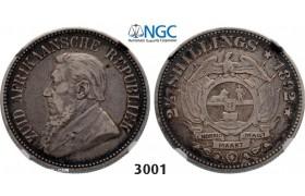 Lot: 3001. South Africa, Zuid-Afrikaansche Republiek (ZAR), 2 1/2 Shillings 1892, Silver, NGC VF30
