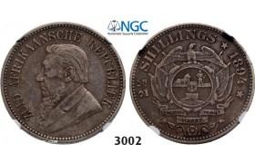 Lot: 3002. South Africa, Zuid-Afrikaansche Republiek (ZAR), 2 1/2 Shillings 1894, Silver , NGC VF35
