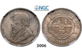Lot: 3006. South Africa, Zuid-Afrikaansche Republiek (ZAR), 2 Shillings 1897, Silver, NGC UNC