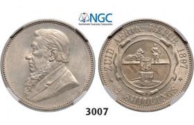 Lot: 3007. South Africa, Zuid-Afrikaansche Republiek (ZAR), 2 Shillings 1897, Silver, NGC AU58