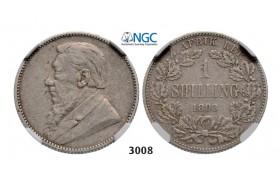 Lot: 3008. South Africa, Zuid-Afrikaansche Republiek (ZAR), Shilling 1893, Silver, NGC VF30
