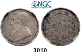 Lot: 3010. South Africa, Zuid-Afrikaansche Republiek (ZAR), 6 Pence 1893, Silver, NGC VF