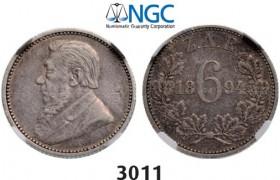 Lot: 3011. South Africa, Zuid-Afrikaansche Republiek (ZAR), 6 Pence 1894, Silver, NGC VF30
