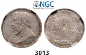 Lot: 3013. South Africa, Zuid-Afrikaansche Republiek (ZAR), 6 Pence 1897, Silver, NGC MS62
