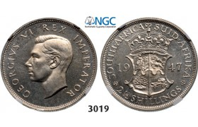 Lot: 3019. South Africa, Union of South Africa, George VI, 1936-­1952, 2­ 1/2 Shillings 1947, Pretoria, Silver, NGC PF63