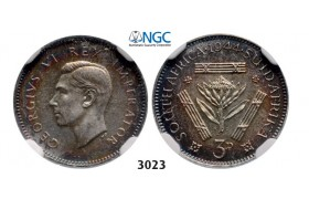 Lot: 3023. South Africa, Union of South Africa, George VI, 1936-­1952, 3 Pence 1944, Pretoria, Silver, NGC PF64