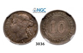 Lot: 3036. Straits Settlements (Singapore/Malaysia), Victoria, 1837-1901, 10 Cents 1879-H, Heaton, Birmingham, Silver, NGC AU