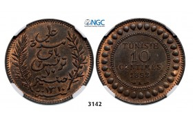 Lot: 3142. Tunisia, French Protectorate, 1881-­1955, 10 Centimes AH1310 (1892) A, Paris, Bronze,  NGC MS64RB