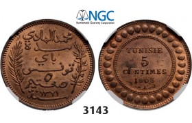 Lot: 3143. Tunisia, French Protectorate, 1881-­1955, 5 Centimes AH1321 (1903) –A, Paris, Bronze, NGC MS64RB
