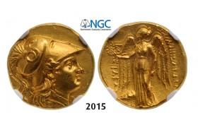 05.05.2013, Auction 2/ 2015. Ancient Greek, Macedonia – Macedonian Kingdom, Alexander III, 336-323 BC, Stater (Struck 250-225 BC) Mesembria, GOLD (8.47g) NGC AU