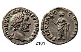 05.05.2013, Auction 2/2101. Roman Empire, Antoninus Pius, 138-161 AD, Denarius (Struck 159-160 AD) Rome, Silver (3.44g)