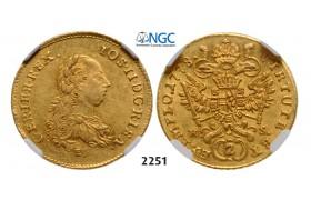 05.05.2013, Auction 2/ 2251. Austria, Joseph II. as coregent, 1765-1780, 2 Ducats 1778-E/HS, Karlsburg, GOLD, NGC AU58