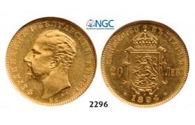 05.05.2013, Auction 2/ 2296. Bulgaria, Ferdinand I, 1887-1918, 20 Leva 1894-KБ, Kremnica, GOLD, NGC AU55